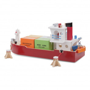 New Classic Toys - Stort Containerskib Med Hele 4 Containere